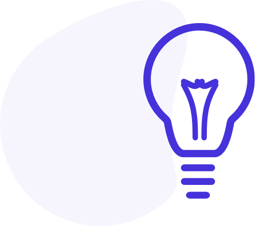 A blue lightbulb against a white background to signify a lightbulb moment in creating seo strategy