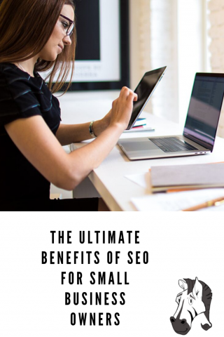 "Pinterest Pin with a picture of a female entrepeneur above the blog title ""The ultimate benefits of SEO for small business owners"""