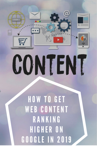 "Purple pinterest pin with picture of content related items and the blog title ""how to get content ranking higher on Google"""