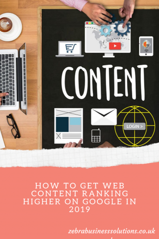 "Pinterest pin for the blog ""How to get web content ranking higher on Google"" with a picture of a desk covered in content marketing items"