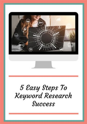 """Front cover for the guide """"5 easy steps to keyword research success"""" with the picture of a female business owner searching for keywords on her laptop"""